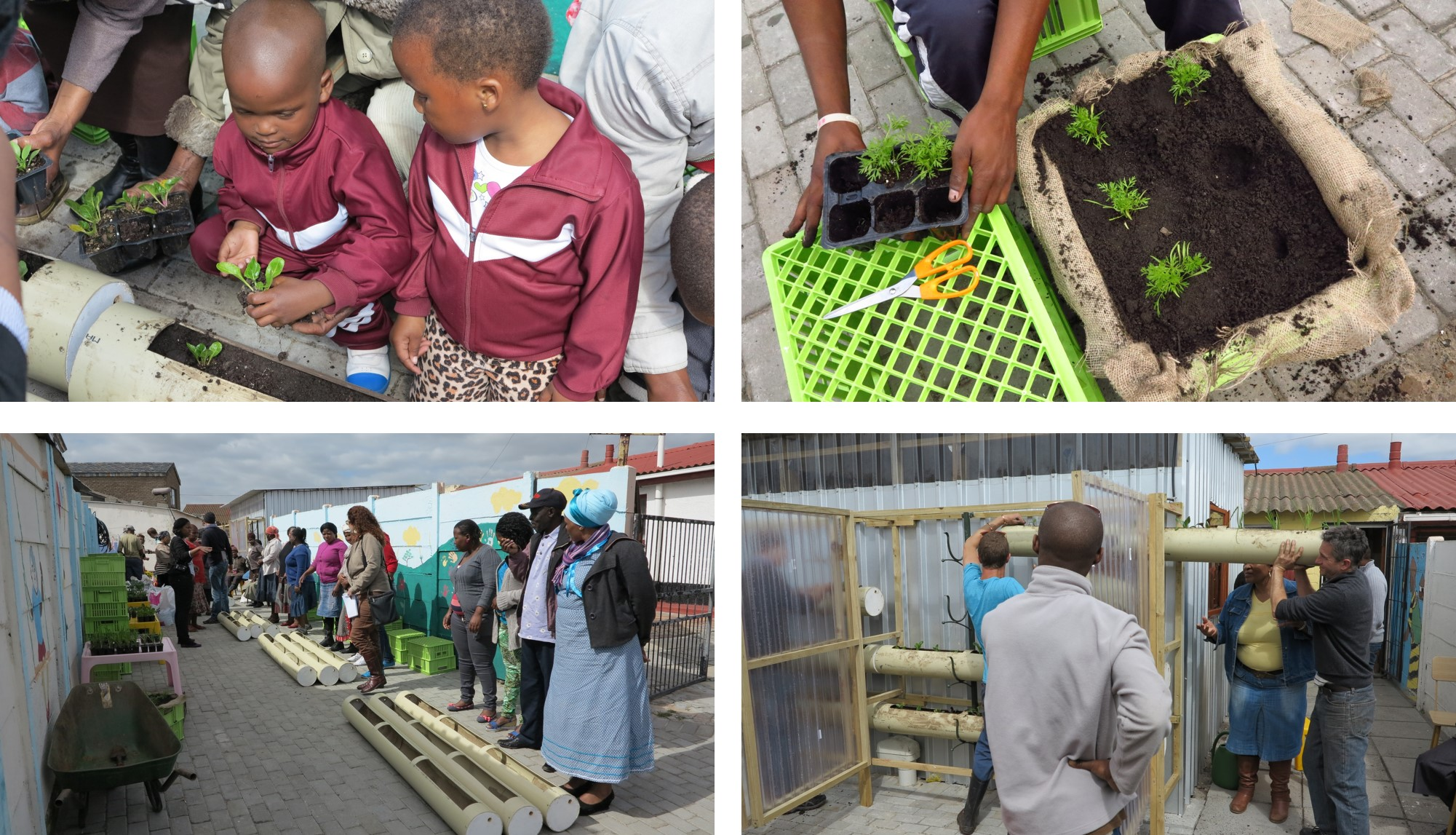 Planting the vertical food garden, Langa, 3rd Sept 2013, Gege creche 2