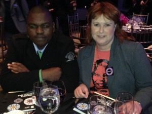 Nkokheli Ncambele (ISN community leader) and Andy Bolnick (director of iKhayalami) at Ingenuity Awards Ceremony in New York.