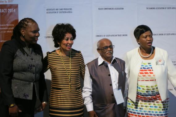 SDI President Jockin Arputham with Minister Lindiwe Sisulu and Deputy Minister Zoe Kota-Fredericks