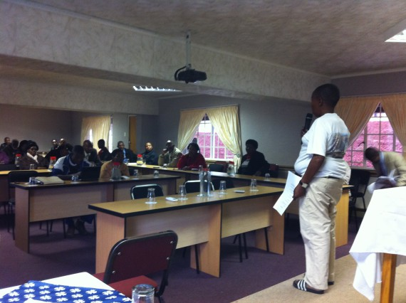 Patrick Matsemela from North West FEDUP presenting to Zone leaders