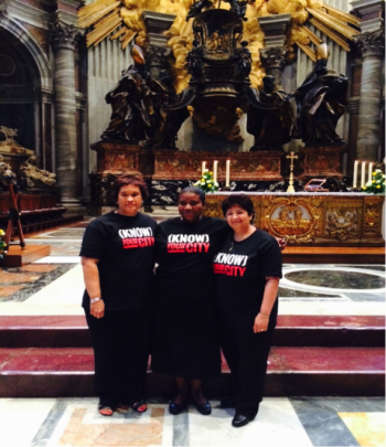 South African delegates attending mass at the Vatican. Left to Right: Wilma Adams (SDI), Rose Molokoane (SDI & FEDUP), Bunita Kohler (CORC)