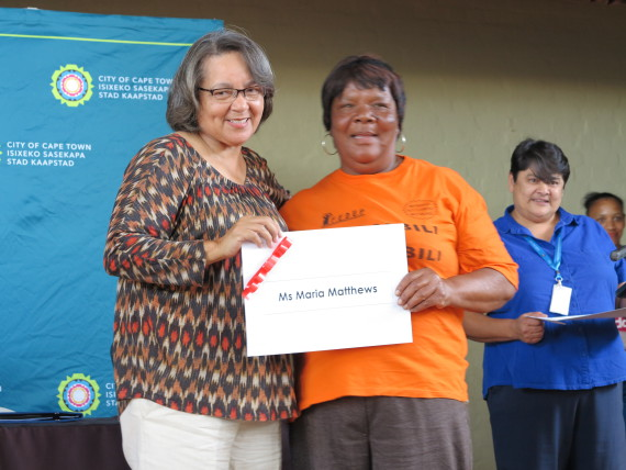 Mayor, Patricia de Lille with Flamingo Community Leader, Maria Matthews