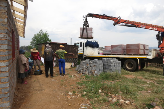 Roof tiles delivered to Elias' showhouse.