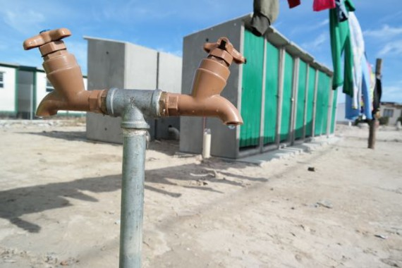 Newly installed water & sanitation in Strong Yard settlement, Mfuleni