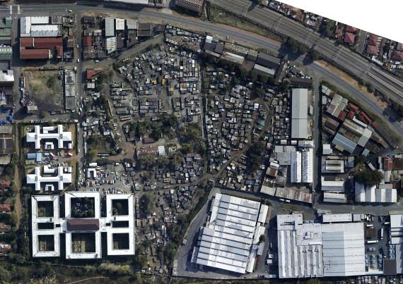Aerial view of Denver informal settlements