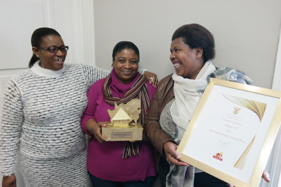 Rose Molokoane (left) with Bukiwe Matakane (CORC Savings Support) and Thozama Nomga (Western Cape FEDUP Coordinator)