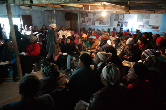 Community gathering in Khayelitsha on informal settlement upgrading.