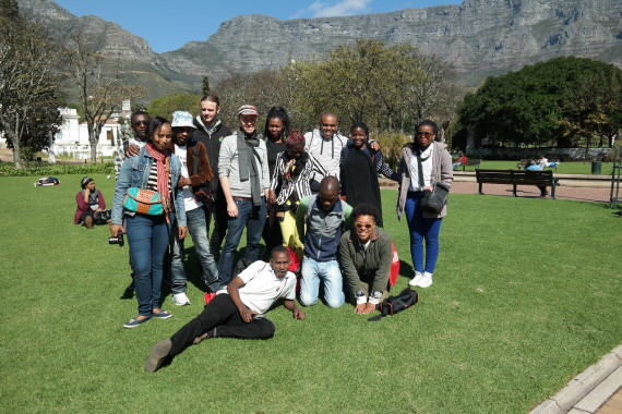 Group picture after filming in Cape Town's Company Gardens.