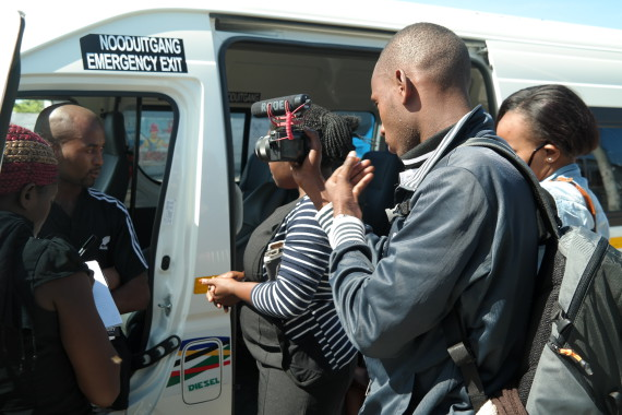 Interviewing a minibus taxi driver