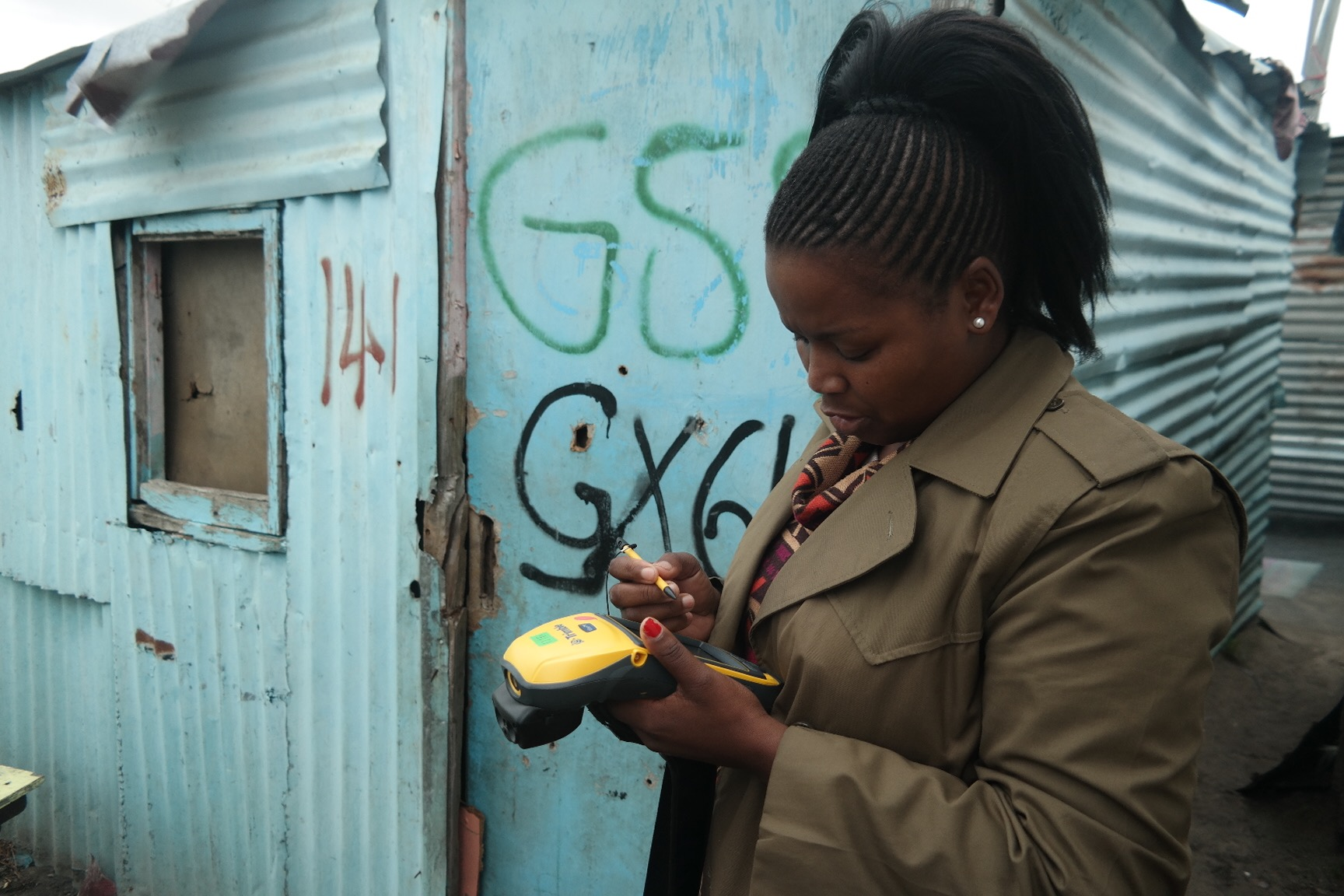 The enumerations teams in Gxagxa get to work, going from shack to shack to conduct the detailed household-level survey