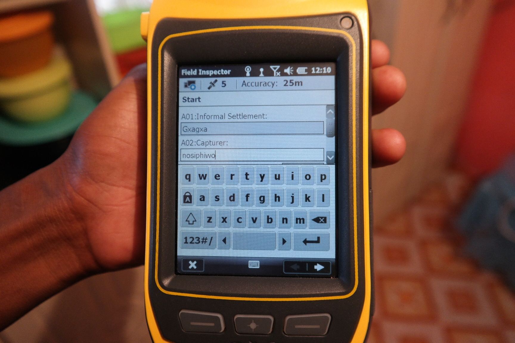 The Trimble is a device used for data capturing during household-level surveying