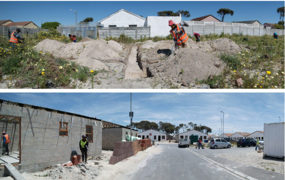 Installation of the groundwork and building process of the Ruo Emoh housing project