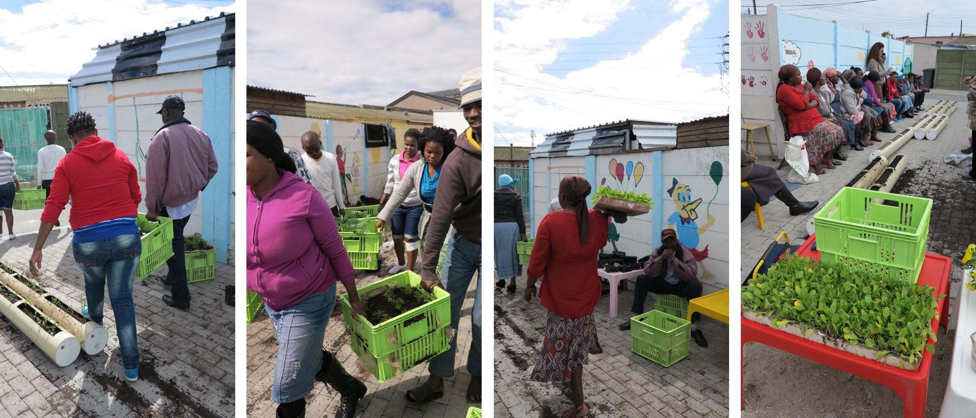 Planting the vertical food garden, Langa, 3rd Sept 2013, Gege creche 3