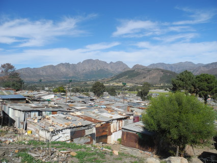 View of Langrug informal settlement, Franschoek