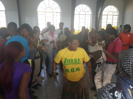Rose Molokwane enjoying her time with the youth.