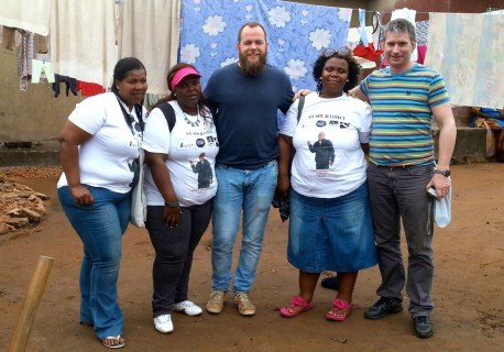 The South African delegation to Uganda (left to right): Thozama, Tamara, Walter Fieuw (CORC), Nozuko, Michael Krause (VPUU - Comic Relief partner)