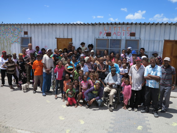 Flamingo community members in front of the newly constructed creche