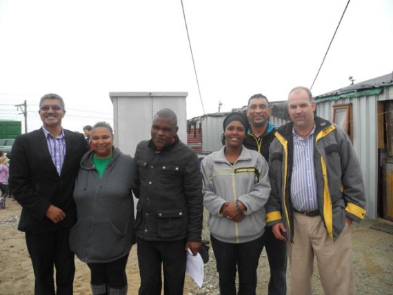 ISN co-ordinators Nkokheli Ncambele and Melanie Manuel with Kuku Town community leader, City of Cape Town councillor and officials