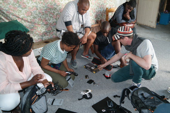 Preparing equipment for filming in Khayelitsha, Cape Town.