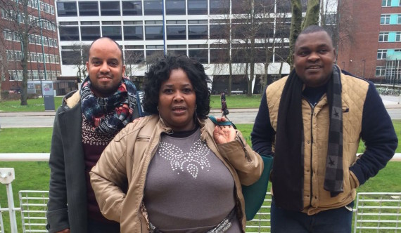 Left to right: Charlton Ziervogel (CORC), Alina Mofokeng (FEDUP), Nkokheli Ncambele (ISN) in Manchester