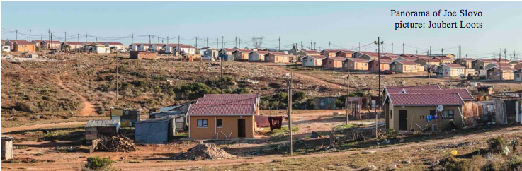 Taken in 2016 by Joubert Loots, this panorama picture of Joe Slovo demonstrate some of the housing typology and infrastructure.